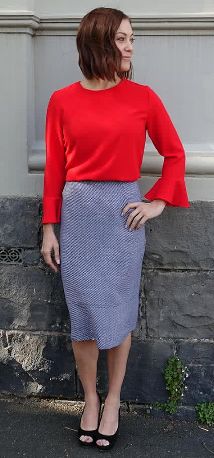 Agatha Woven Skirt Sewing Pattern By Style Arc - Classic pencil skirt featuring a wide hem panel and back split opening.