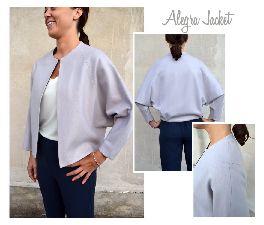 Alegra Jacket / Coat Sewing Pattern By Style Arc - ONE PATTERN TWO LOOKS: Short jacket with pleat back and deep raglan sleeves + Knee length zip front cocoon shaped coat.