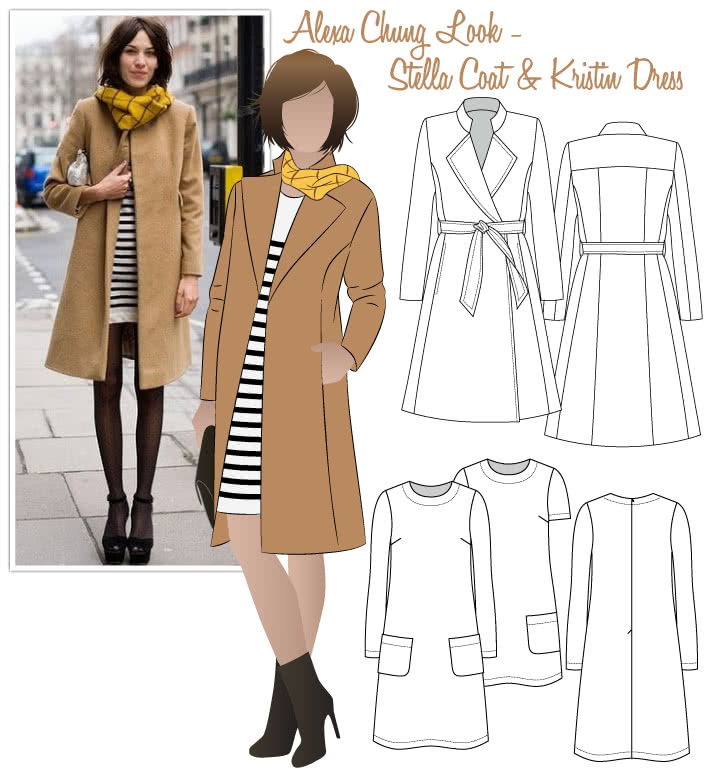 Alexa Chung - Trendy Look Sewing Pattern Bundle By Style Arc - Alexa Chung Trendy Look - Stella Coat and Kristin Dress