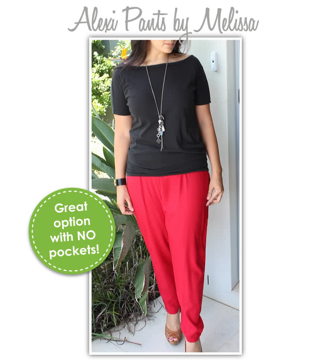 Alexi Pant Sewing Pattern By Melissa And Style Arc - Great new harem pant shape with knot pockets