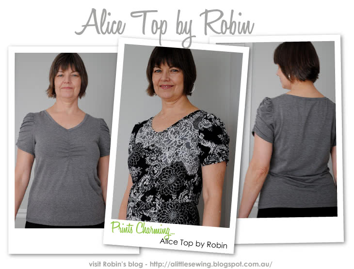 Alice Top Sewing Pattern By Robin And Style Arc - Gorgeous feminine top with gathered neck & sleeve