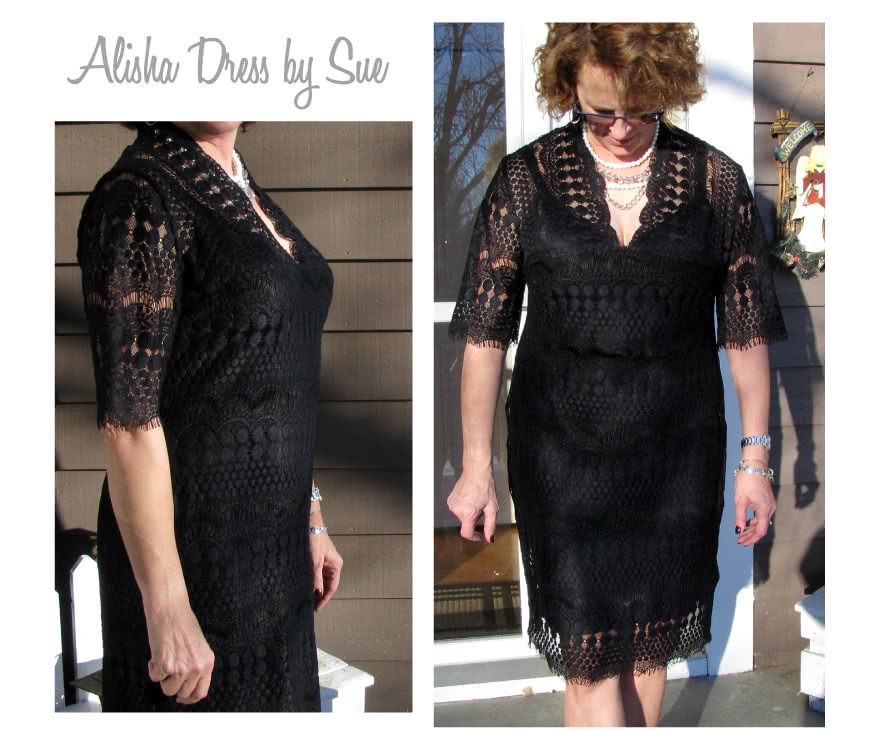 Alisha Dress Sewing Pattern By Sue And Style Arc - Fabulous V-neck dress with slip (pattern included)