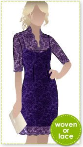 Alisha Dress Sewing Pattern By Style Arc - Fabulous V-neck dress with slip (pattern included)