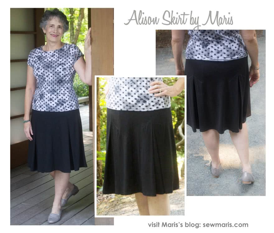 Allison Skirt Sewing Pattern By Maris And Style Arc - Knit skirt featuring 4 inverted pleats and elastic waistband