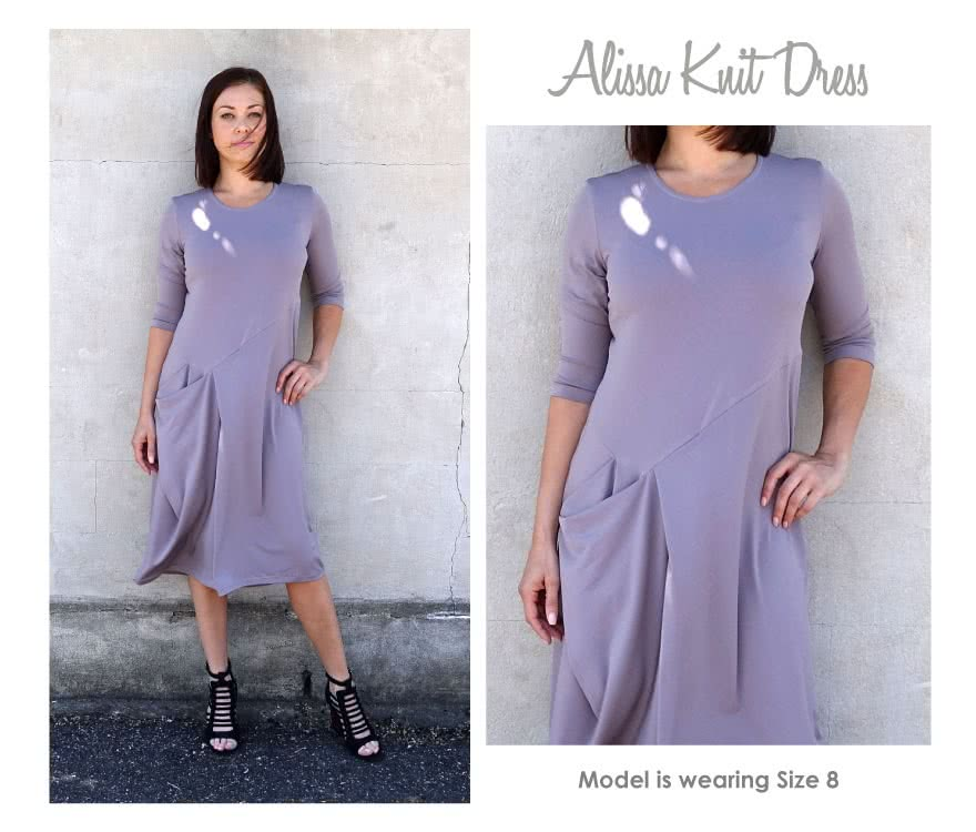 Alissa Knit Dress Sewing Pattern By Style Arc - Knit drape side pocket designer dress with 3/4 sleeves