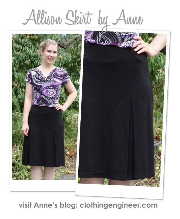Allison Skirt Sewing Pattern By Anne And Style Arc - Knit skirt featuring 4 inverted pleats and elastic waistband