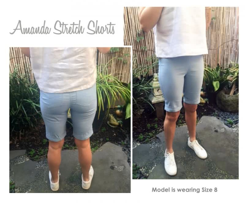 Amanda Stretch Short Sewing Pattern By Style Arc - Great long line pull-on short featuring cuffs