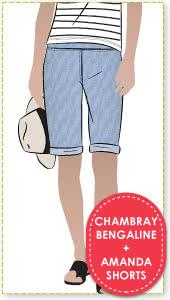 Amanda Shorts + Chambray Bengaline Sewing Pattern Fabric Bundle By Style Arc - Amanda Shorts pattern + Chambray Bengaline fabric bundle