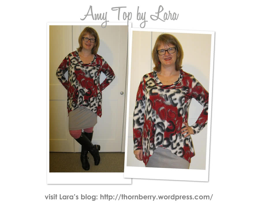 Amy Knit Top Sewing Pattern By Lara And Style Arc - Casual new dropped hem top with semi cowl neck