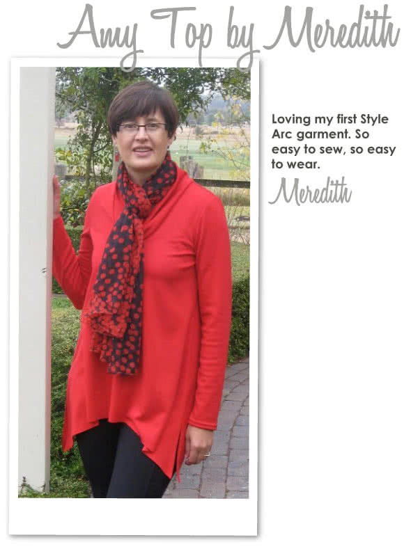 Amy Knit Top Sewing Pattern By Meredith And Style Arc - Casual new dropped hem top with semi cowl neck