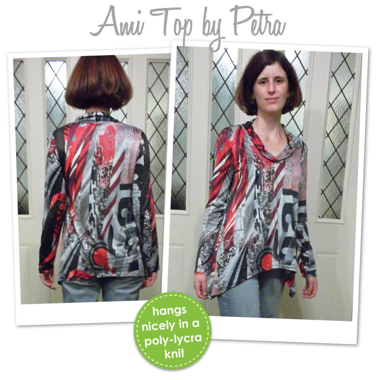 Amy Knit Top Sewing Pattern By Petra And Style Arc - Casual new dropped hem top with semi cowl neck