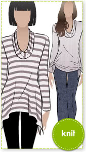 Amy Knit Top Sewing Pattern By Style Arc - Casual new dropped hem top with semi cowl neck