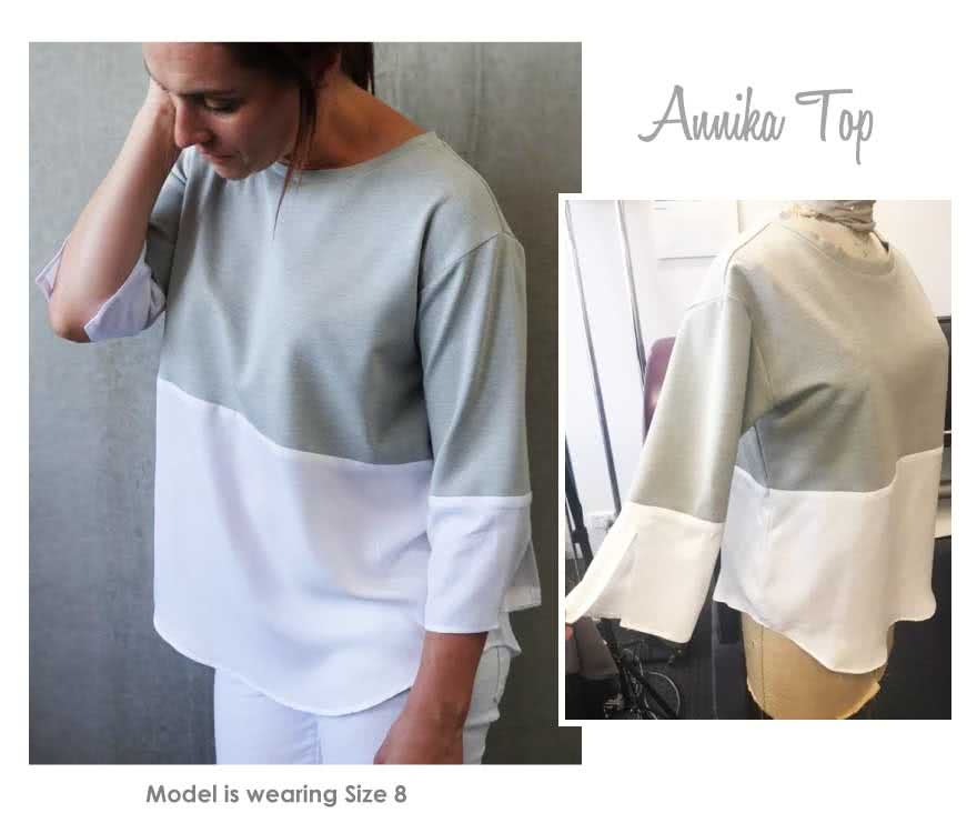 Annika Top Sewing Pattern By Style Arc - Sliced knit and woven top featuring a dropped shoulder and interesting cuff detail
