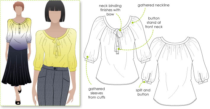 Katherine Blouse Sewing Pattern By Style Arc - Peasant blouse with elbow length leeve