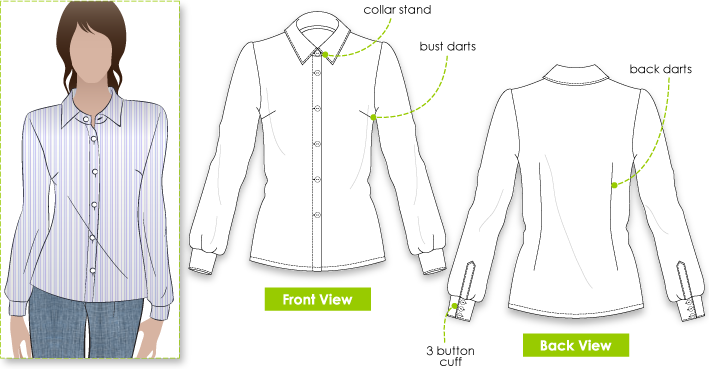 Melissa Blouse Sewing Pattern By Style Arc - Fitted woven shirt