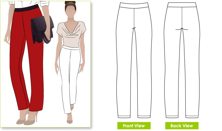 Barb's Stretch Pant Sewing Pattern By Style Arc - Stretch woven pull on pant with elastic waist