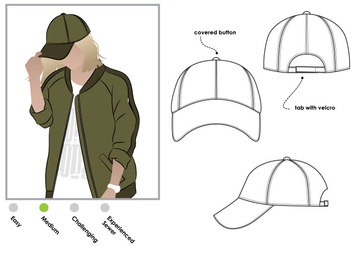 Baseball Cap Sewing Pattern By Style Arc - Traditional base ball cap with adjustable back tab