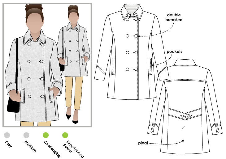 Beatrice Pea Coat Sewing Pattern Jacket Vest Coat Sewing
