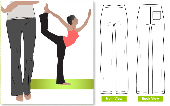 Becky Yoga Pant Sewing Pattern By Style Arc - Every day must have yoga pant