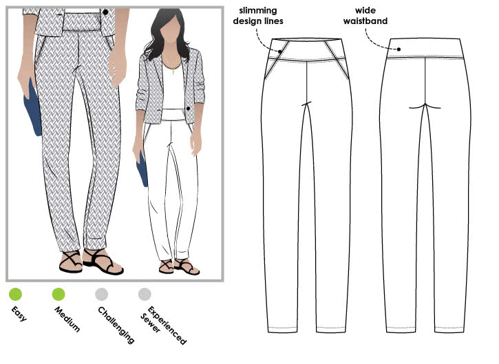 Beth Stretch Woven Pant Sewing Pattern By Style Arc - Pull on woven stretch pant with wide waistband and the perfect leg shape.