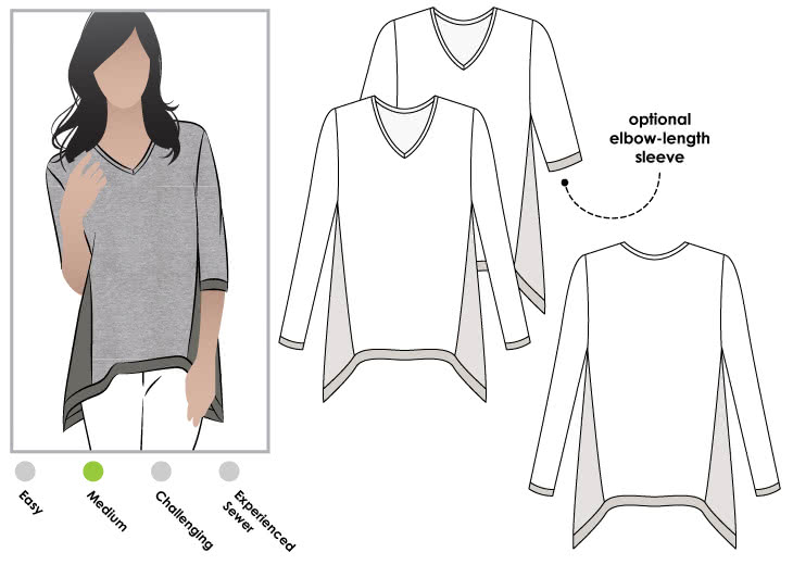 "Bianca Knit Top Sewing Pattern By Style Arc - Tunic style Top with ""V"" neck and angled hem line"