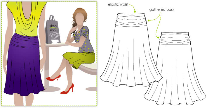 Bobbie Bask Sewing Pattern By Style Arc - Knit pull on skirt with gathered bask