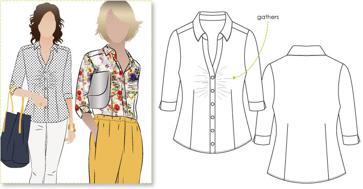 Brenda Blouse Sewing Pattern By Style Arc - Versatile blouse with gathering at the front