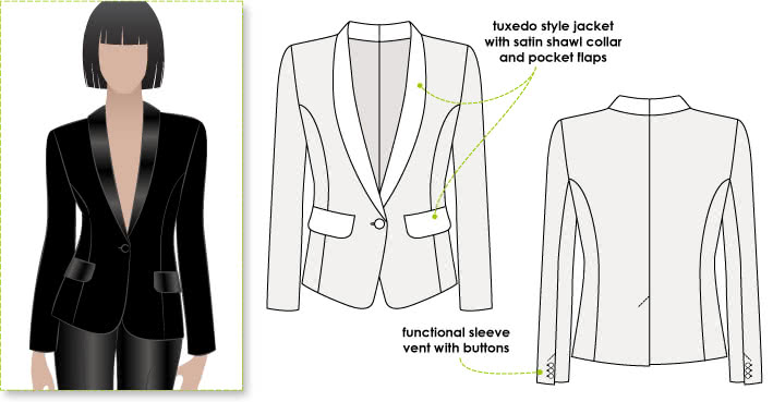 Bronnie Tuxedo Jacket Sewing Pattern By Style Arc - Classic tuxedo style fully lined jacket with shawl collar