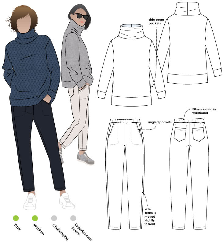 Brooklyn Pant + Top Outfit Sewing Pattern Bundle By Style Arc - Brooklyn knit Pant + Top outfit