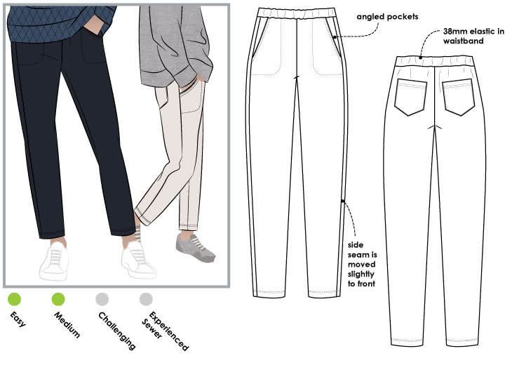 Brooklyn Knit Pant Sewing Pattern By Style Arc - Stylish knit pant with elastic waist, pockets and angled side seam