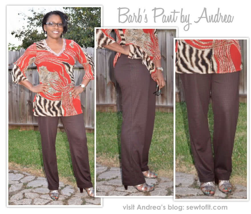 Barb's Stretch Pant Sewing Pattern By Andrea And Style Arc - Stretch woven pull on pant with elastic waist