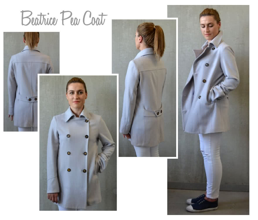 Beatrice Pea Coat Sewing Pattern By Style Arc - Double breasted classic pea coat
