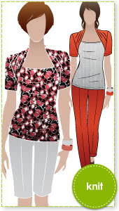 Belinda Jersey Top Sewing Pattern By Style Arc - Clever top with a built in shrug effect