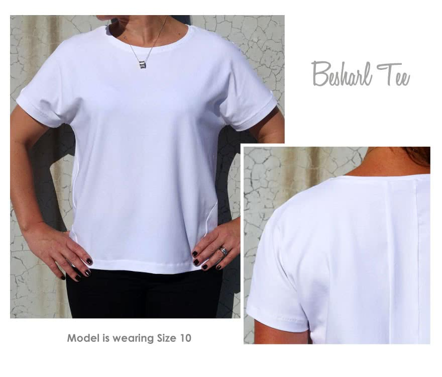 Besharl Knit Tee Sewing Pattern By Style Arc - Square cut extended shoulder T-shirt with angled seams & back detail