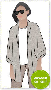 Besharl Jacket Sewing Pattern By Style Arc - Kimono-style jacket with open front and cosy shawl collar