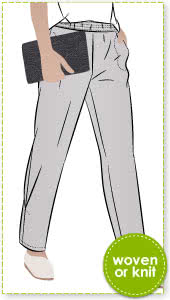 Besharl Pant Sewing Pattern By Style Arc - Elastic waist pull on pant with interesting hem tuck detail