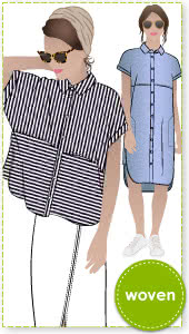 Blaire Shirt & Dress Sewing Pattern By Style Arc - Blaire Shirt - Square shaped shirt with rolled cuff and interesting overlay. Blaire Dress - Shirt-maker dress shirt tail and inset pockets.