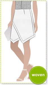 Brooke Woven Skirt Sewing Pattern By Style Arc - Asymmetrical skirt with full wrap in two lengths
