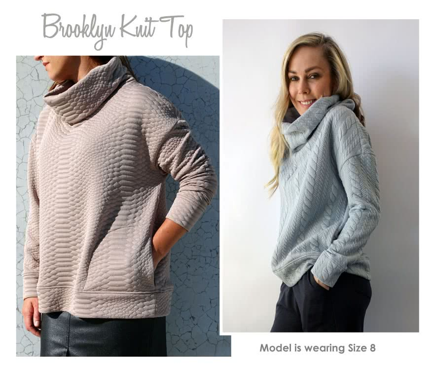 Brooklyn Knit Top Sewing Pattern By Style Arc - Cosy big roll neck sweater type top with extended shoulders, pockets and bands