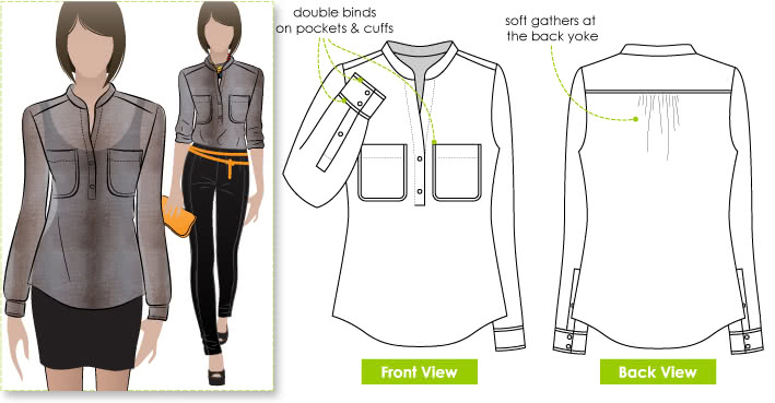 Camilla Blouse Sewing Pattern By Style Arc - Lovely short tab front, long sleeve blouse