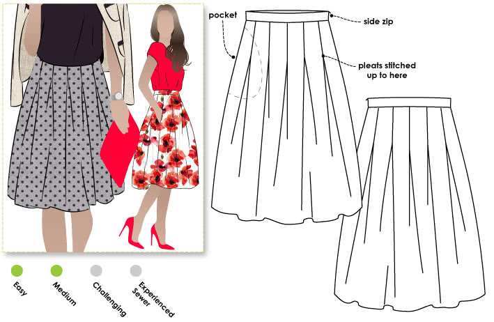 Candice Skirt Sewing Pattern By Style Arc - The inverted pleats make this a new skirt, great for any occasion