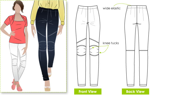 Cassie Stretch Woven Pant Sewing Pattern By Style Arc - Fashionable pull on ankle length pant with knee patch