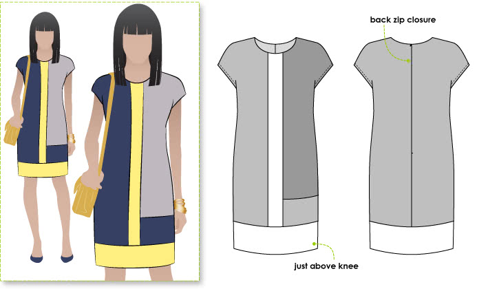 Charlotte Dress Sewing Pattern By Style Arc - Trendy colour-blocked woven shift dress with short sleeve