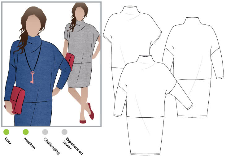Cher Knit Dress Sewing Pattern By Style Arc - Funnel neck cocoon shaped dress