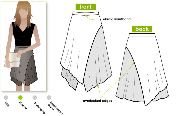 Clara Knit Skirt Sewing Pattern By Style Arc - Great layered knit skirt with elastic waist