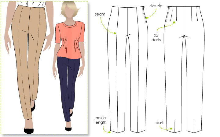 Claudia Stretch Woven Pant Sewing Pattern By Style Arc - This Slim leg, ankle length pant sits on the waist