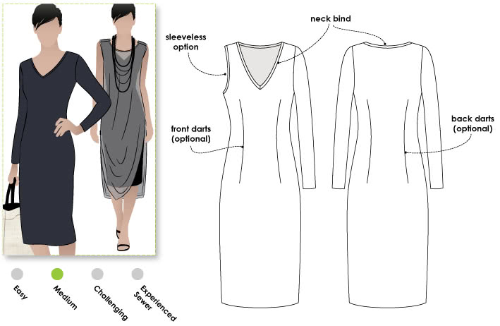 Cleo Knit Dress Sewing Pattern By Style Arc - This basic knit dress will become be a great staple in your wardrobe