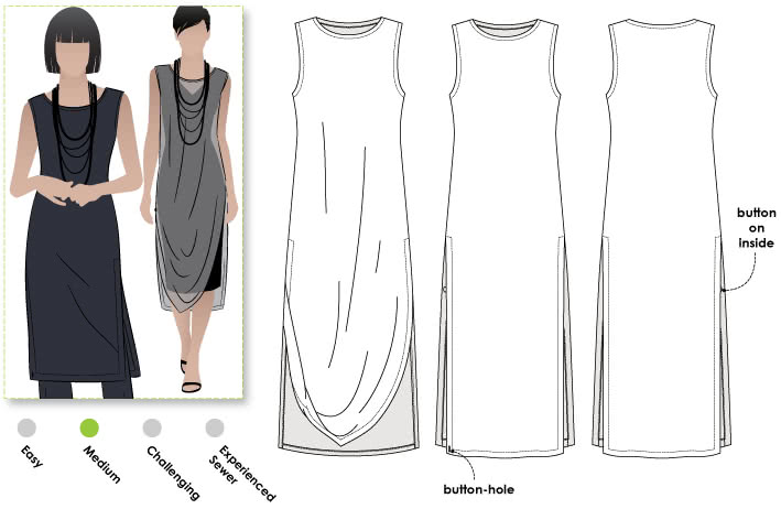 Cleo Designer Long Tabard Sewing Pattern By Style Arc - This designer tabard is a great versatile piece that can be worn over a pant, as well as the Cleo dress