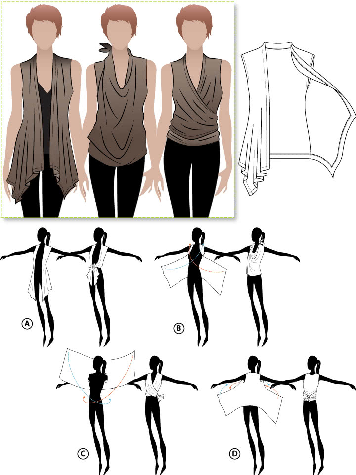 Clever Claire Top Sewing Pattern By Style Arc - Clever vest multiple styles