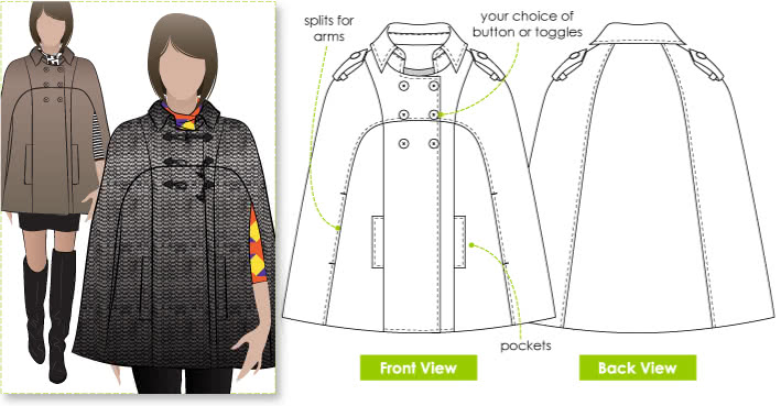 "Clover Cape Sewing Pattern By Style Arc - Fabulous ""On Trend"" fully lined Cape"